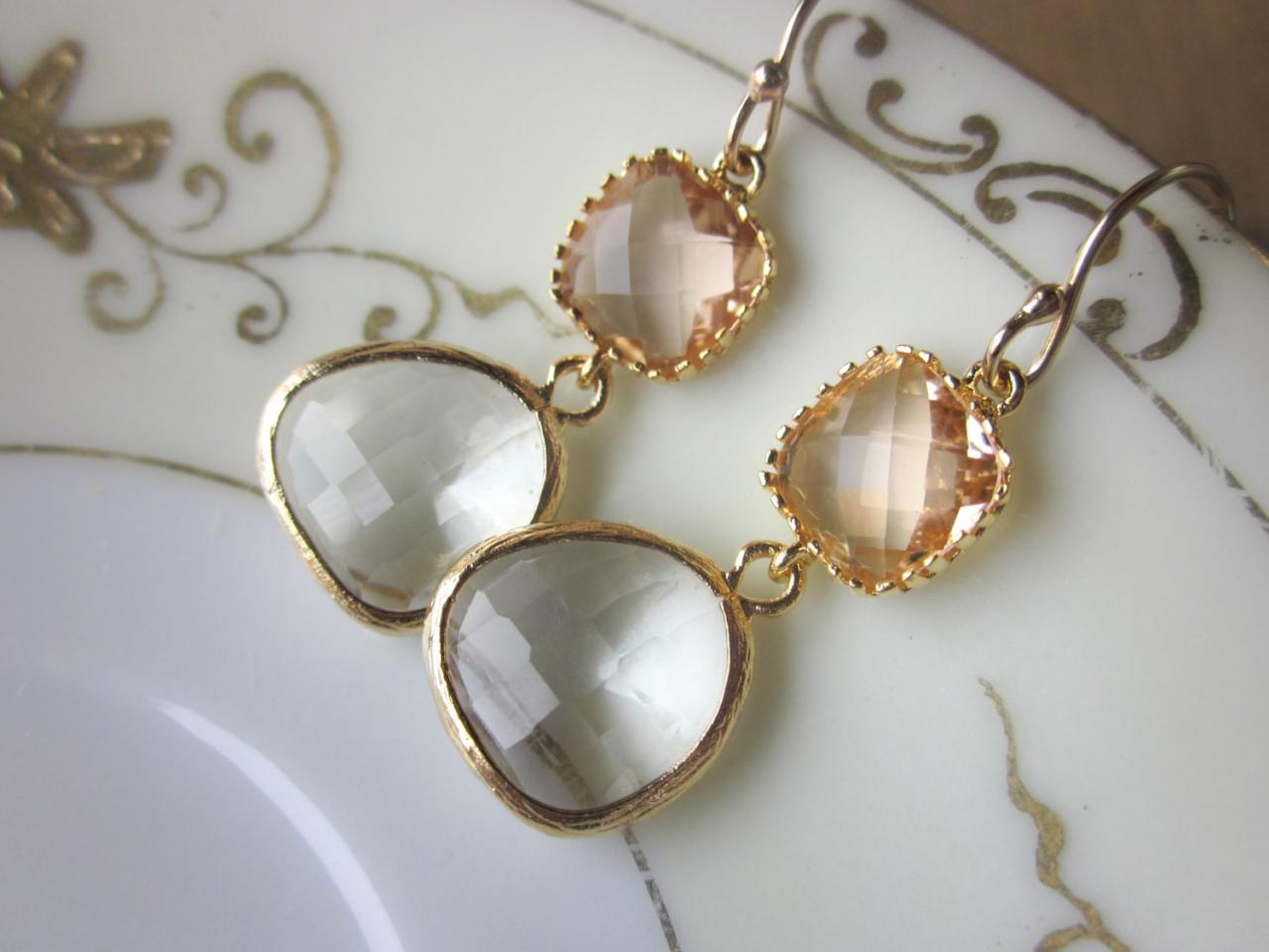 Champagne peach crystal earrings wedding earrings for Jewelry for champagne wedding dress